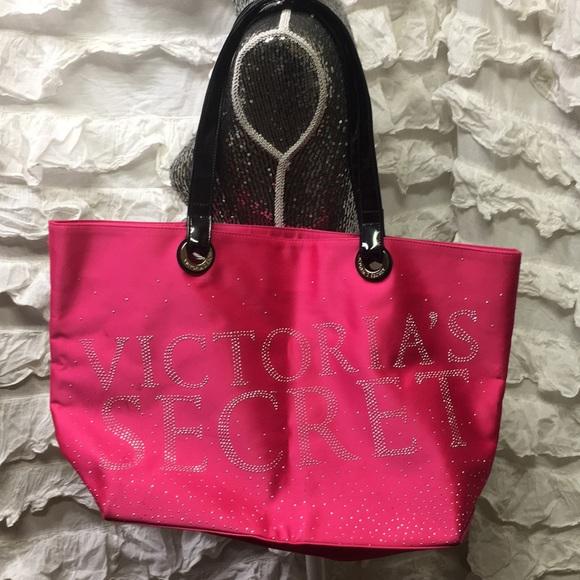 171f30fb6dc0 Victoria s Secret pink tote bling oversized black.  M 5a78f0cb72ea887b3031567d